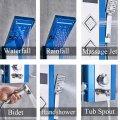 Luxe Zwart Rond LED Douchepaneel Mengkraan Handdouche en temperatuurscherm