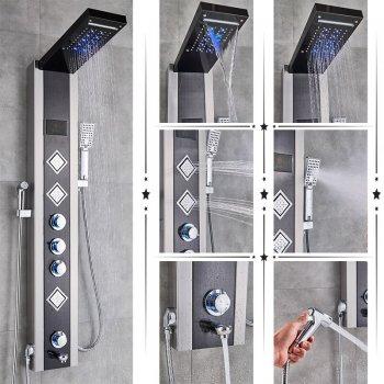 Luxe Zwart LED Douchepaneel Mengkraan Handdouche en temperatuurscherm