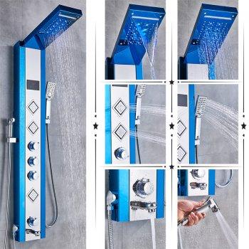 Luxe Blauwe LED Douchepaneel Mengkraan Handdouche en temperatuurscherm