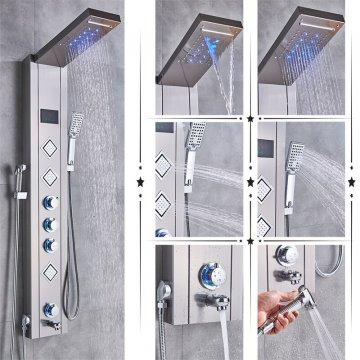 Luxe Nikkel LED Douchepaneel Mengkraan Handdouche en temperatuurscherm