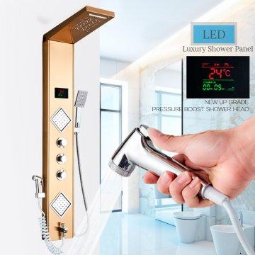 Luxe LED douchepaneel goud mengkraan handdouche temperatuurscherm