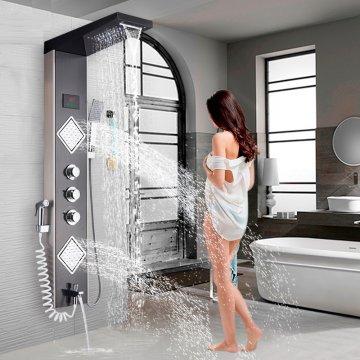 Luxe LED douchepaneel Kolom Mengkraan Handdouche Temperatuurscherm