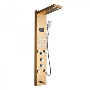 Douche paneel goud kolom mengkraan met handdouche en temperatuurscherm
