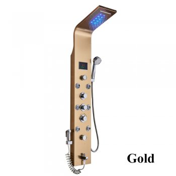 NIEUW Luxe gouden LED Douchepaneel Handdouche Temperatuurscherm