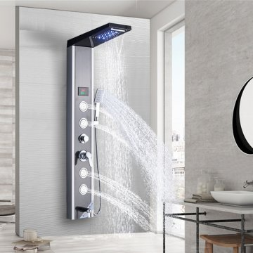 Nieuw luxe zwart / geborsteld badkamer douchekraan LED douchepaneel