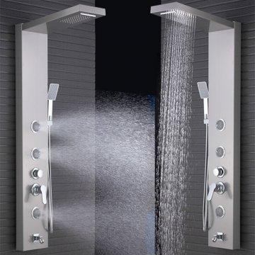 Regenval kolom douche paneel met massage jets geborstelde nikkel