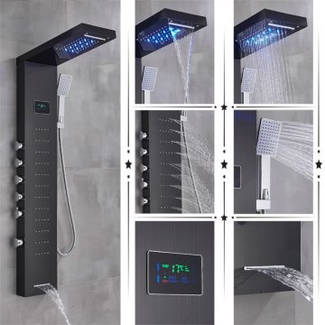 Zwarte led regendouche paneel mengkraan met handdouche en temperatuur display
