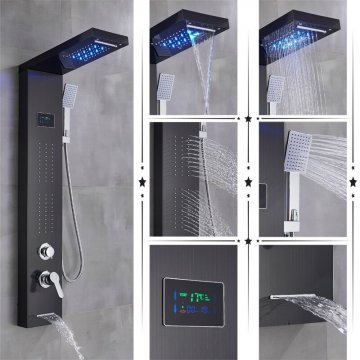 Led regendouche paneel zwart mengkraan met handdouche en temperatuur display