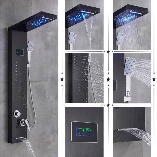 Zwarte regendouche paneel mengkraan met handdouche en temperatuur led display