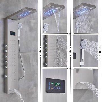 Geborsteld nikkel led regendouche paneel mengkraan met handdouche en temperatuur display