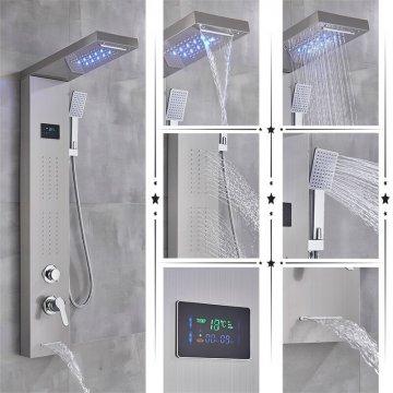 Led regendouche paneel geborsteld nikkel mengkraan met handdouche en temperatuur display