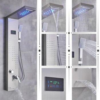 Geborsteld nikkel regendouche paneel mengkraan met handdouche en temperatuur led display