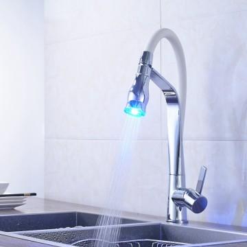 Chrome keukenkraan met LED Pull Sproeier