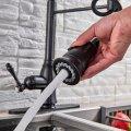 Hoge pull down horeca keukenkraan zwart brons met 2 functie uitloop + afdekplaat