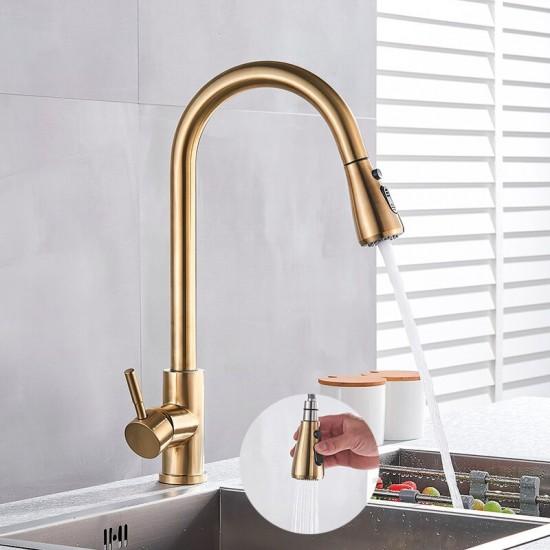 Moderne gouden keukenkraan messing