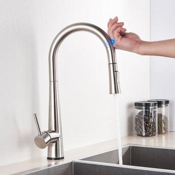 Geborsteld Nikkel Trek Sensor Keukenkraan Smart Touch Control Kraan Keuken