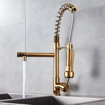 Luxe moderne gouden messing mengkraan met Led