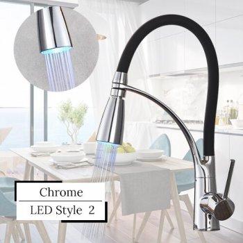 Keukenkraan chroom LED 2 standen