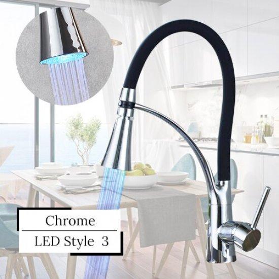 Keukenkraan 2 standen chroom LED