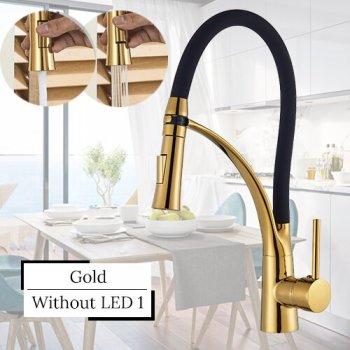 Gouden keukenkraan met 2 standen