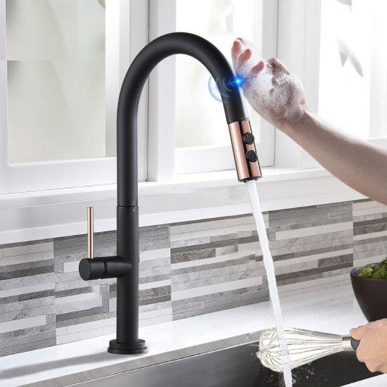Zwarte keuken meng Kraan met Sensitive Smart Touch