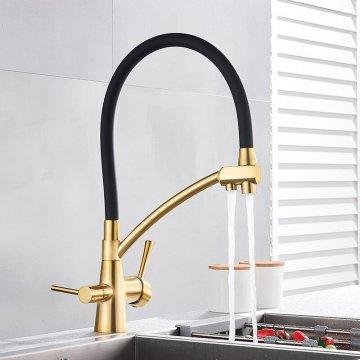 Gouden Meng Kraan Dual Uitloop Met Filter aansluiting Waterzuivering Functie Kranen