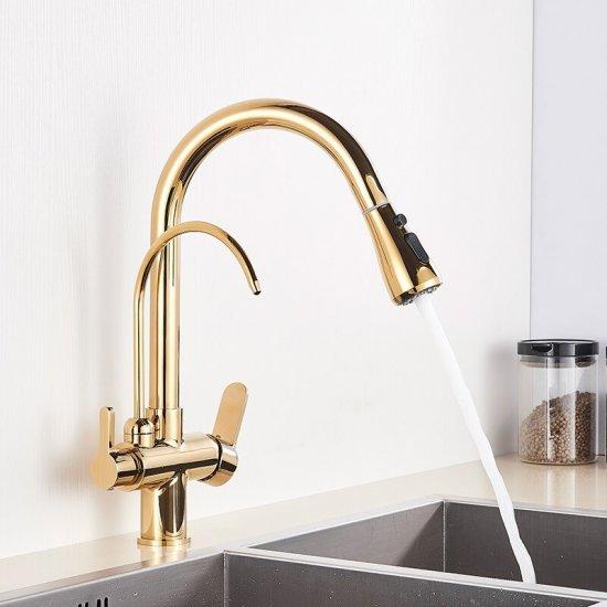 Gouden keuken mengkraan met aansluiting filter drinkwater