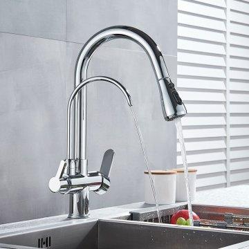 Moderne keuken mengkraan met aansluiting filter drinkwater Chroom