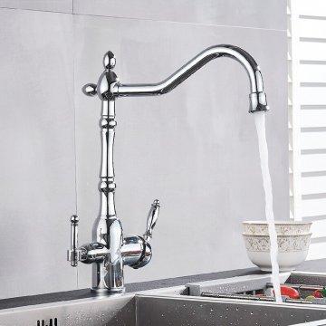 Klassieke Keuken Kraan Dual Uitloop aansluiting filter drinkwater Chroom