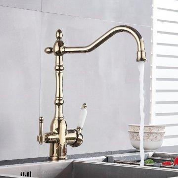 Goud Klassieke Waterfilter Keuken Kraan Dual Uitloop aansluiting filter drinkwater