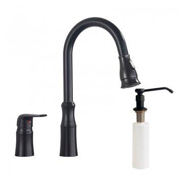 Messing Zwart Keukenkraan Trek Flexibele Waterbesparende Mengkranen