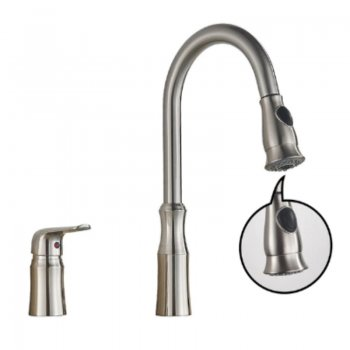 Keukenkraan Geborsteld Nikkel Trek Flexibele Waterbesparende Mengkranen