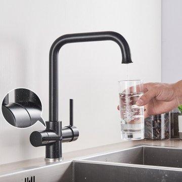 Waterfilter Keuken kraan Dual Uitloop Filterkraan Zwart met stip