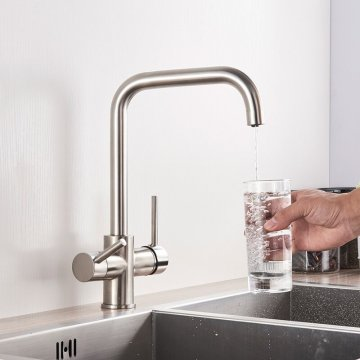 Geborsteld nikkel Waterfilter Keuken kraan Dual Uitloop Filterkraan Mixer 360 Graden Rotatie