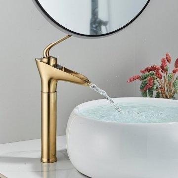 Hoge wastafel kraan smalle waterval uitloop mengkraan enkele hendel geborsteld goud