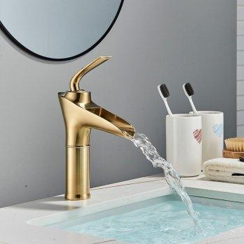 Wastafel kraan smalle waterval uitloop mengkraan enkele hendel geborsteld goud