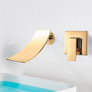 Breed gouden waterval wastafel wand mengkraan