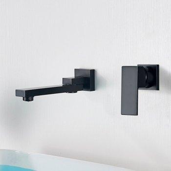 Draaibare waterval wastafel wand mengkraan zwart