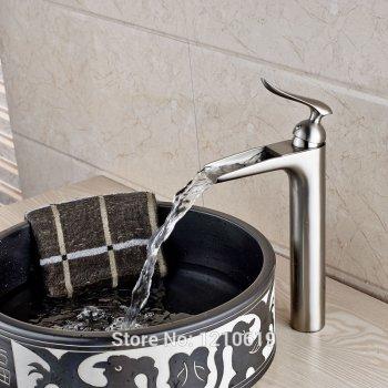 Hoge wastafel mengkraan nikkel geborsteld waterval