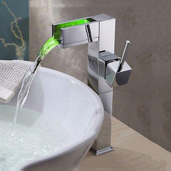 Hoge moderne kraan waterval kleur veranderende LED