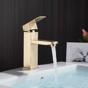 Wastafelkranen Badkamerkraan Enkel handvat geborsteld goud laag