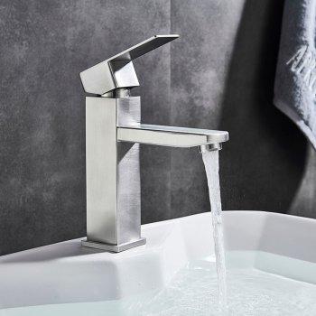 Wastafelkranen Badkamerkraan Enkel handvat geborsteld nikkel laag