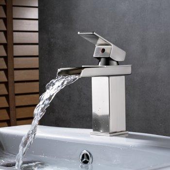 Nikkel geborsteld massief messing badkamer waterval uitloop mengkraan