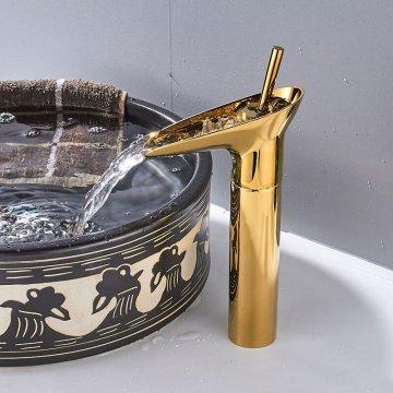 Gouden waterval kraan enkele handgreep