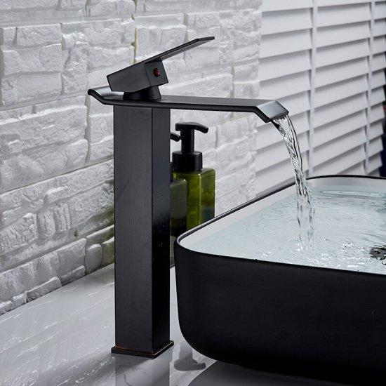 Verhoogde Design Wastafelkraan Waterval Uitloop