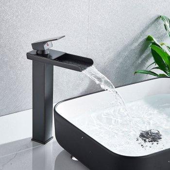 Zwart Verhoogde Design Wastafelmengkraan Waterval Uitloop