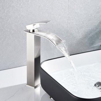 Verhoogde Design Nikkel Wastafelkraan Waterval Uitloop