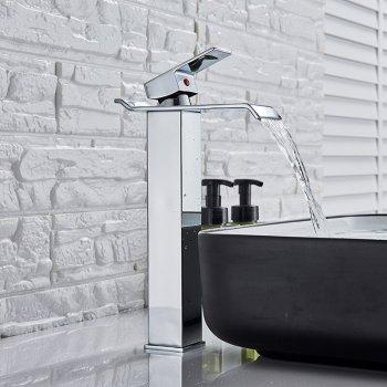 Verhoogde Chromen Design Wastafelkraan Waterval Uitloop