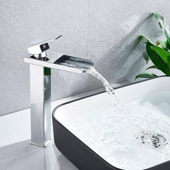 Verhoogde Design Wastafelkraan Waterval Uitloop Chroom