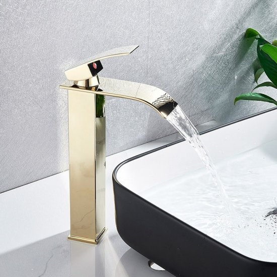 Goud Gepolijst Verhoogd Design Wastafelkraan Waterval Uitloop